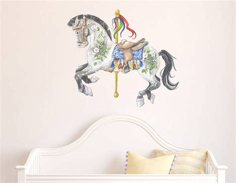 Grey carousel horse wall sticker contemporary wall stickers