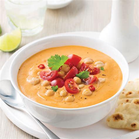 soupe repas aux tomates lentilles et pois chiches