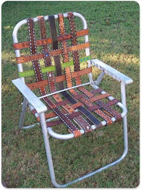new twist on lawn chair webbing leather belts