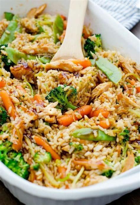 casseroles et cuisine riz brocoli carotte pois mange tout poulet cuisine