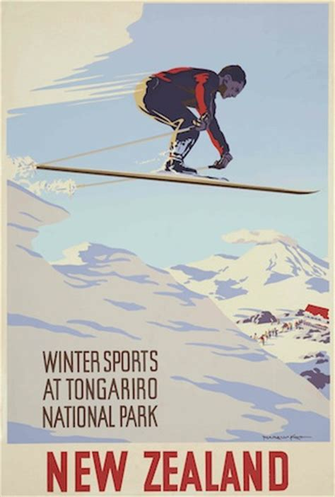 winter sports  tongariro national park vintage nz poster