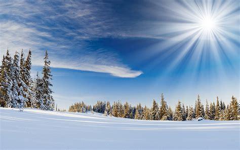 fonds decran ciel hiver soleil neige rayons de lumiere