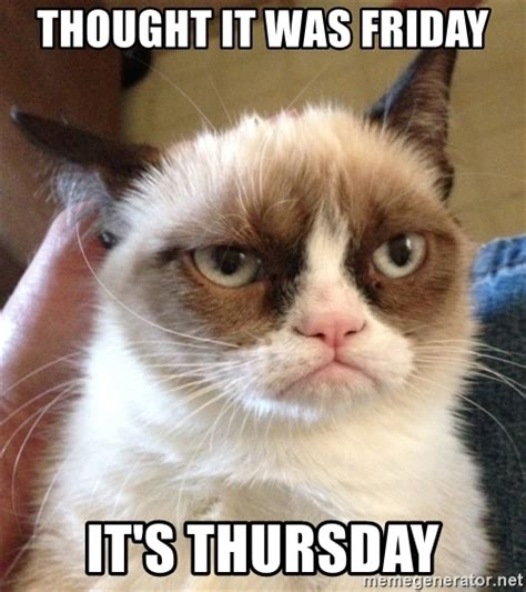 Grumpy Cat Friday Meme - thought it was friday it s thursday grumpy cat 2 meme generator