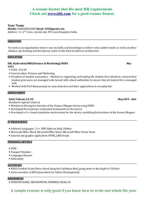 mba resume sample format