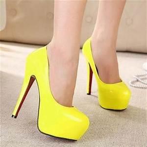 y Neon Yellow High Heels Shoes on Luulla