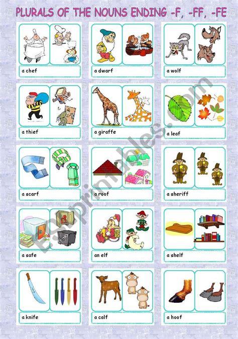 plurals nouns ending f ff fe 1 5 esl worksheet