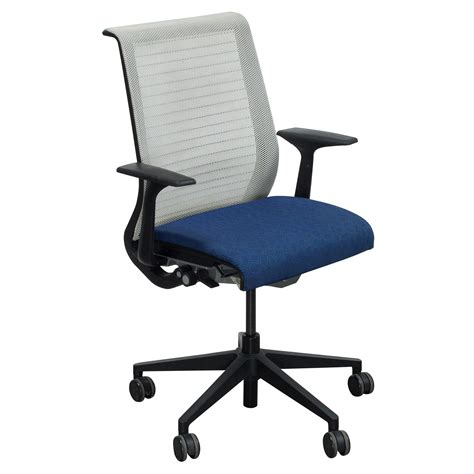steelcase think used mesh back conference chair blue