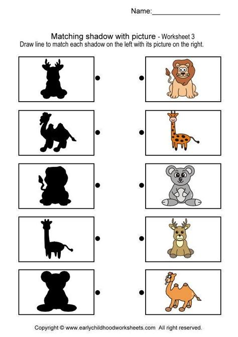 matching shadow with picture brain teaser worksheets 3