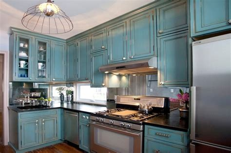 distressed blue kitchen cabinets kitchen of the week turquoise cabinets snazz up a space 6781