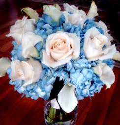 Pink White and Blue Wedding Flowers