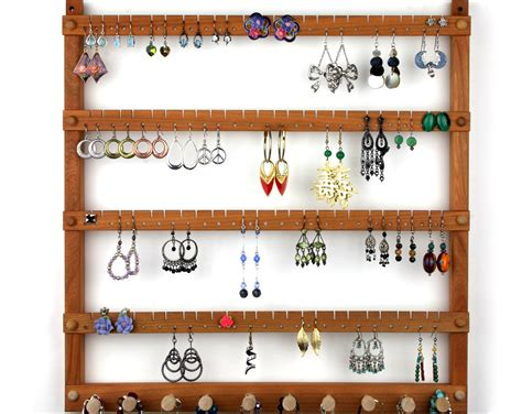 Wood Earring Holder Jewelry Organizer Cherry Wall Mount, Wall Earring Holder Emerald Jewelry In Ebay Gordon's Jewelers Near Me Display Tree Stand Store That Buys Gold Table Used Dubai Makers Fake