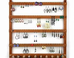 Wood Earring Holder Jewelry Organizer Cherry Wall Mount