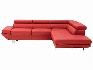 Canapé Droit 5 Places : canap angle droit 5 places loft coloris rouge conforama ~ Premium-room.com Idées de Décoration