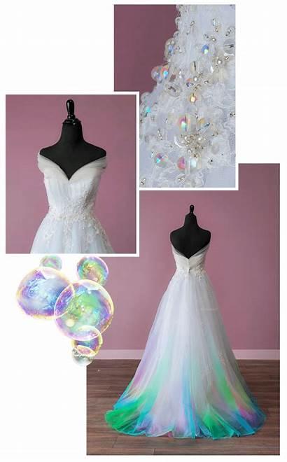 Bridal Colorful Unicorn Canvas Colored Dresses Bubble