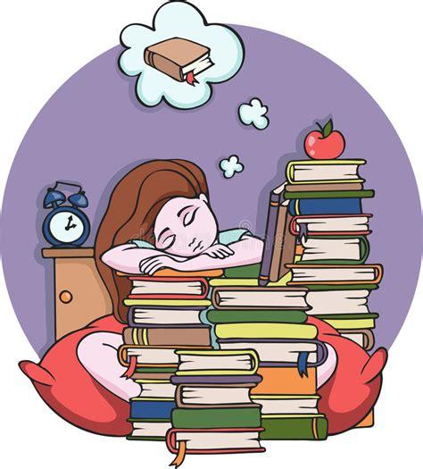 girl studying  night sleeping  books vector