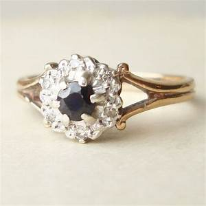 vintage sapphire engagement ring diamond ring 9k gold ring With wedding rings vintage