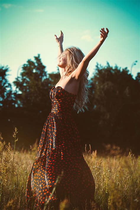 picture dress fashion female freedom girl grass