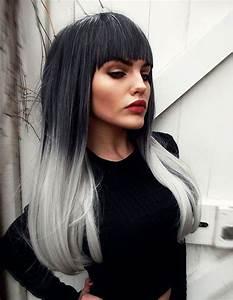 Haarfarbe Schwarz Grau : lange glatte haare ombre moderne m nnliche und weibliche haarschnitte und haarf rbungen ~ Frokenaadalensverden.com Haus und Dekorationen