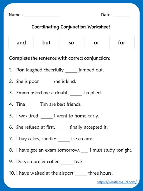 conjunction worksheet  grade   home teacher