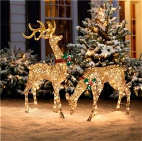 pc outdoor lighted pre lit gold reindeer deer sleigh