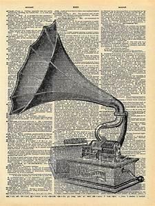 Antique Gramophone Book Art Print Victorian Steampunk Art