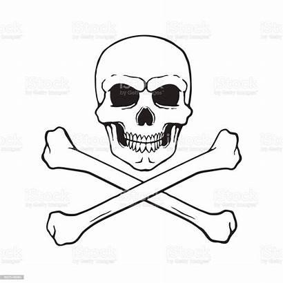 Skull Crossbones Jolly Roger Vector Doodle Sketch