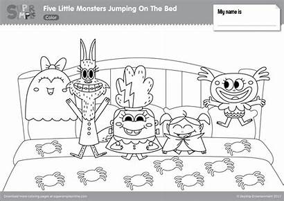 Coloring Pages Monster Bed Monsters Jumping Five