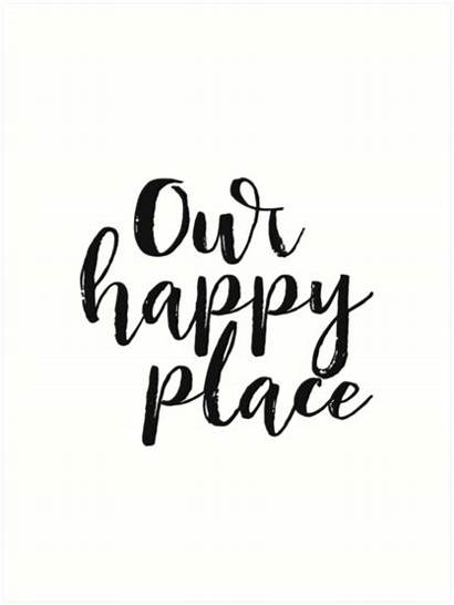 Printable Kitchen Happy Place Quote Poster Prints