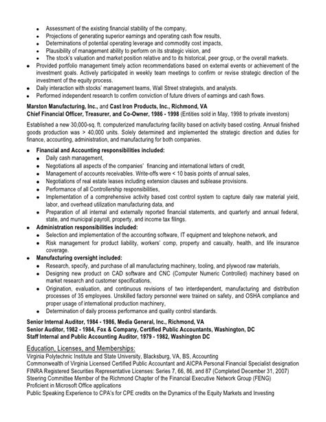 Equity Research Resume by Buy Side Equity Analyst Resume Stonewall Services
