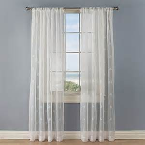 crossed anchors rod pocket sheer window curtain panel in white bed bath beyond
