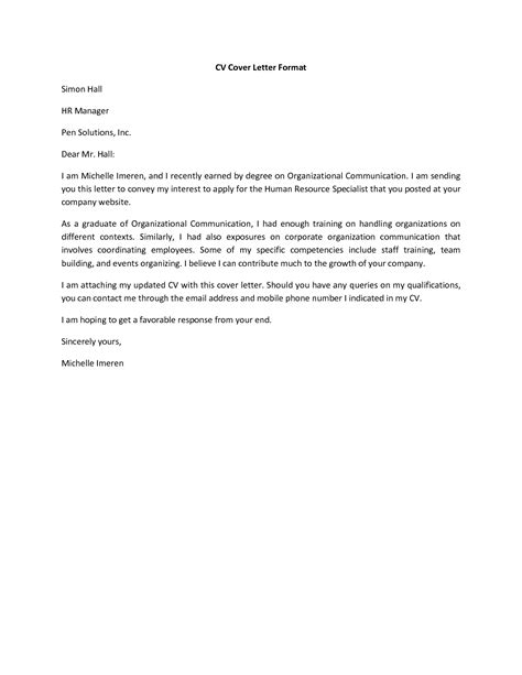 Cv Cover Letter Template by Basic Cover Letter For A Resume