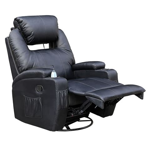 cinemo black leather recliner chair rocking swivel