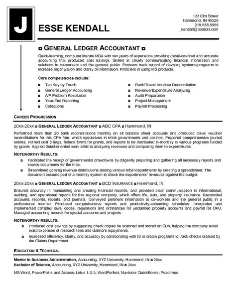 General Ledger Reconciliation Resume by Exle General Ledger Accountant Resume Free Sle