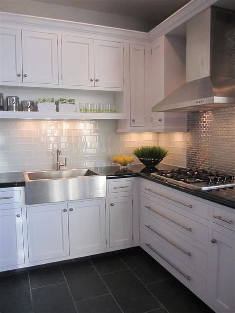 white cabinets gray floor charcoal slate tile transitional kitchen 278 | c3451f1eef26