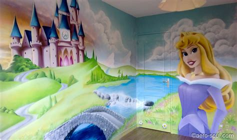chambre fille princesse fresque murale decoration chambre fille chateau princesse