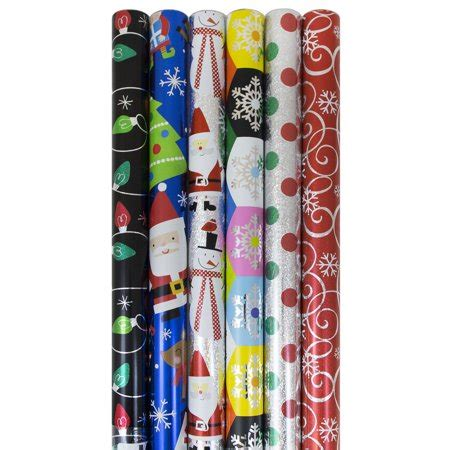 Jam Paper Christmas Gift Wrapping Paper Set, Assorted