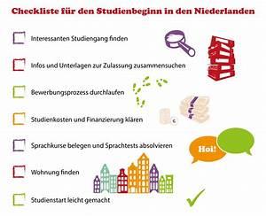 Erste Wohnung Checkliste : checkliste f r den studienbeginn in den niederlanden ~ Markanthonyermac.com Haus und Dekorationen
