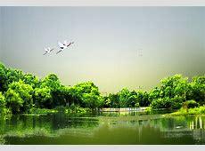 Beautiful Green Lake Landscape Poster Background Template
