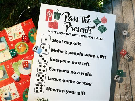 Pass The Presents White Elephant Gift Exchange Game Free