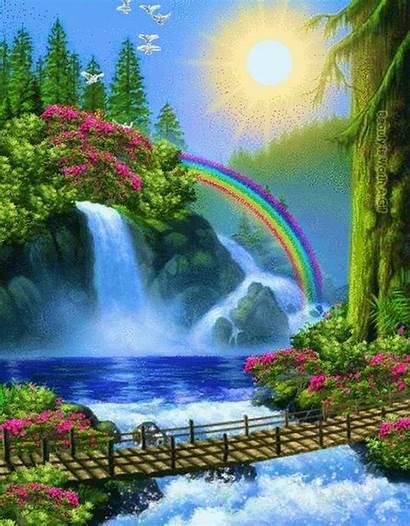 Nature Gifs Waterfall Rainbow Waterfalls Hermosos Google