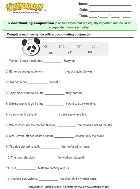 coordinating conjunctions worksheet turtle diary