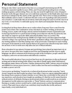 Personal Statement For High School Seniors College Essay