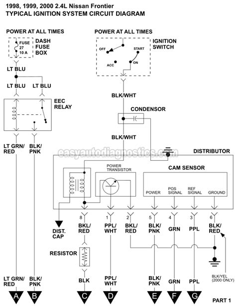 ignition system wiring diagram 1998 2000 2 4l nissan frontier