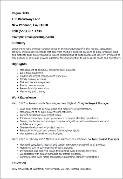 Agile Resume by Professional Agile Project Manager Templates To Showcase