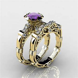 Art masters caravaggio 14k yellow gold 10 ct lavender for Amethyst diamond wedding ring set