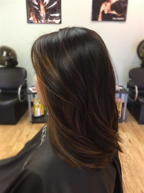 balayage  dark hair brown highlights  black hair
