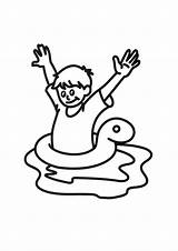 Swimming Swim Coloring Clipart Clip Pages Tube Line Pool Swimsuit Test Colour Adult Cliparts Colouring Boy Float Drawing Sunny Getcolorings sketch template