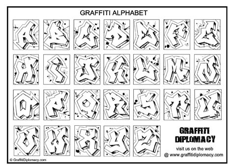 graffiti alphabet coloring book  coloring