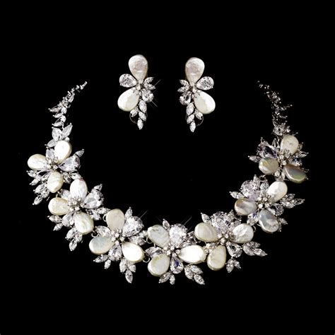 Wedding Jewelry by Silver Keshi Pearl Floral Bridal Necklace Earring