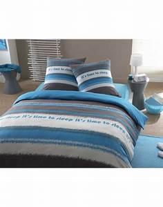 Linge De Lit Discount : housse de couette gris et bleu linge de lit discount gitetantejeanne ~ Teatrodelosmanantiales.com Idées de Décoration